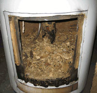 Scale, mineral and calicum buildup inside your water heater
