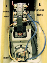 Water heater. This is the upper thermostat. the red button is an overtemperature switch